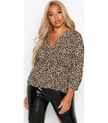 plus leopard print wrap peplum top, brown