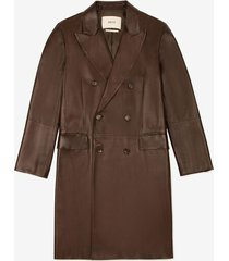 double-breasted leather coat brown 48