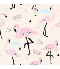 papel de parede flamingo rosa para quarto de menina 57x270cm - multicolorido - dafiti