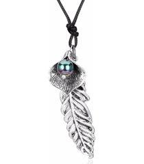 collana girocollo lunga da donna vintage in argento antico con piume nere e perle