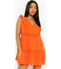 petite swing jurk met gehaakte zoom, orange
