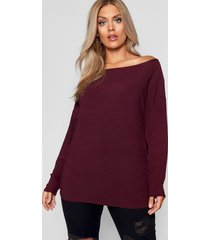 plus off the shoulder knitted sweater, berry
