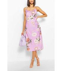 floral satin midi dress, lilac