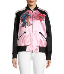 tropical embroidered satin moto jacket
