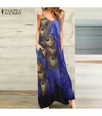 zanzea vestido de playa floral de bohemia para mujer correas sin mangas con cuello en v vestidos largos largos -azul oscuro