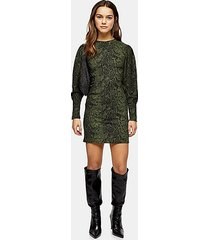 petite khaki snake print crinkle mini dress - khaki