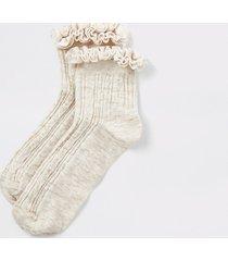 river island womens cream velvet frill cable knitted socks