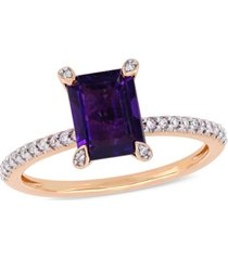 amethyst (1-1/2 ct.t.w.) and diamond (1/10 ct.t.w.) ring in 10k rose gold