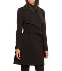 women's lauren ralph lauren belted drape front coat, size large - black