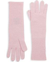 saks fifth avenue women's textured cashmere gloves - ebony