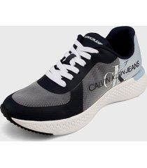 tenis azul-negro-blanco calvin klein