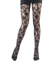 emilio cavallini women's daisies lace tights - black - size m/l
