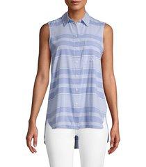 beach lunch lounge women's stripe sleeveless shirt - sorbet - size xs