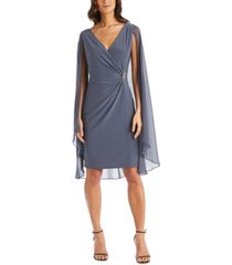 r & m richards petite embellished chiffon cape dress