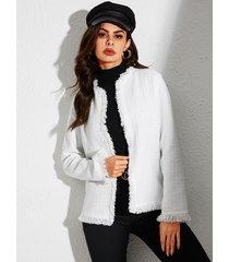 yoins abrigo blanco de manga larga