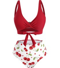knot cherry print bikini swimwear