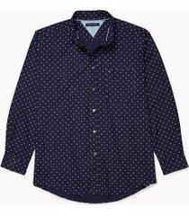 tommy hilfiger men's adaptive classic fit leaf print shirt black iris - xl