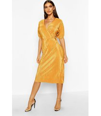 plisse buckle wrap midi dress, mustard