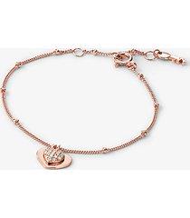 mk bracciale a forma di cuore in argento sterling con placcatura in metallo prezioso e pavé - oro rosa (oro rosa) - michael kors