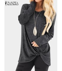 zanzea casual mujeres camiseta de manga larga asimétrica floja llanura tapas de la camisa de la blusa de gran tamaño nueva -gris oscuro
