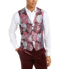 inc men's slim-fit smoked rose jacquard vest, created for macy's