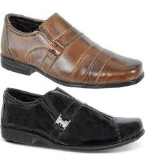 kit 2 pares de sapato social infantil couro legítimo leoppé - masculino