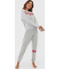 pijama hering faixas cinza - cinza - feminino - algodã£o - dafiti