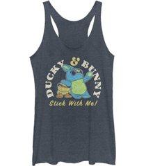 disney pixar juniors' toy story 4 duckie and bunny brand tri-blend tank top