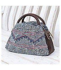 leather-accented cotton batik handbag, 'hmong highlands' (thailand)