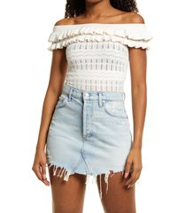 women's guess nola off the shoulder pointelle sweater, size x-small - white