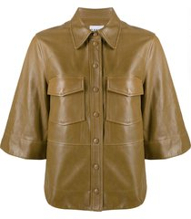 ganni faux-leather button-up shirt - brown