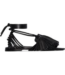 jil sander tassel self-tie sandals - black