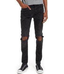 men's topman blowout ripped skinny jeans, size 32 x 34 - black