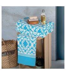 jogo toalha de rosto lepper arabesco geométrico 48 x 75 cm azul 3 peças