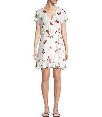 koreen cherry-print wrap dress