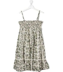 bonpoint teen camouflage and lace flared-dress - white