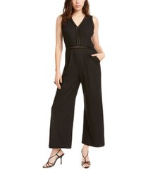 monteau petite lattice-detail linen-blend jumpsuit