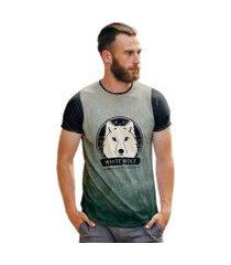 camiseta di nuevo lobo manga curta gola redonda masculina