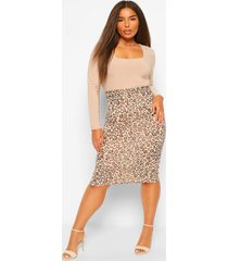 plus luipaardprint bodycon midi rok, tan