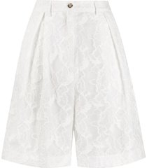 msgm floral-lace pleated bermuda shorts - white