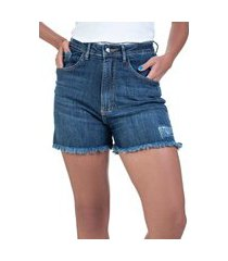 bermuda jeans bloom hot pants com elastano azul