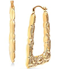 ornately textured triangle hoop earrings in 14k gold