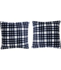 "polyester fill classic plaid fleece pillow, pack of 2, 18"" x 18"""
