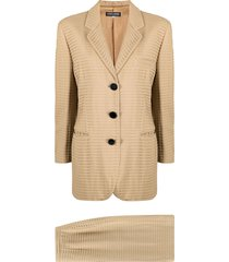 giorgio armani pre-owned 1990s ribbed skirt suit - neutrals