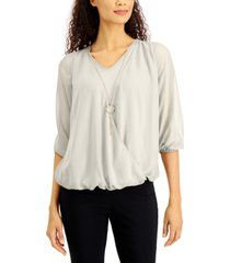 jm collection petite surplice necklace top, created for macy's