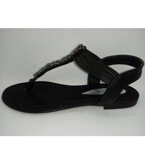 sandalia de cuero negro plata abryl calzados diamond