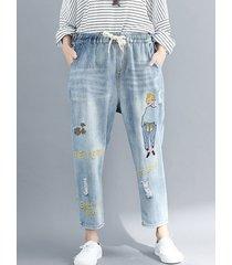 pantaloni larghi del denim della vita elastica del fumetto di stampa del ricamo