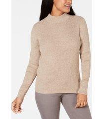 karen scott petite ribbed-knit cotton turtleneck, created for macy's