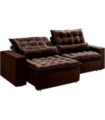 sofá retrátil com 5 lugares madri 250cm marrom