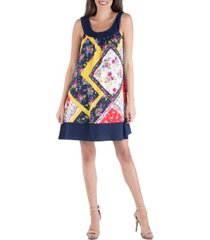 24seven comfort apparel patchwork multi print sleeveless mini dress